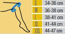 Таблица с размери на коляно от ортопедичен магазин МЕДИ СИ