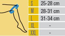Таблица с размери за детски ортопедични наколенки от ортопедичен магазин МЕДИ СИ Пловдив